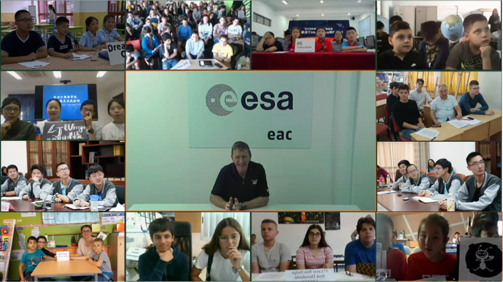 ESA astronaut Tim Peake talking to the Moon Camp Challenge winning teams